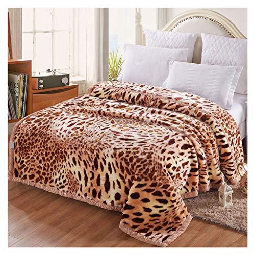 Decken Double Blanket Flanell weiche Flauschige gemütliche Dicke warme Leopard Print Sofa Bett Werfen WYQLZ (größe : 200 * 230cm)