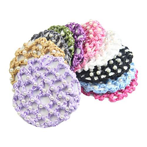 Lurrose Haarnetz, elastisch, dick, mit Perlen, Dekoration, bunt, für Tanz, 5 Stück (Haarnetze Tanz)
