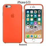 Funda Silicona para iPhone 6 y 6s Silicone Case, Logo Manzana, Textura Suave, Forro Microfibra (Nectarina)
