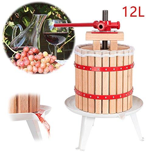 Hengda WIS Obstmühle Beerenmühle Traubenmühle Obstmuser Obsthäcksler Mühle Maischemühle mit Handkurbel Edelstahl (12 Liter Obstpresse) (Klein Anfangen)