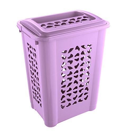 keeeper Wäschebox mit Einwurfschlitz und aufklappbarem Deckel, Luftdurchlässig, 60 l, Per, Lila