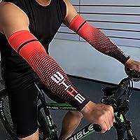 Demana 1 Paar Sport Ellbogen Arm Kühlung Sonnenschutz Kompression Arm Ärmel für Baseball Basketball Golf Tennis Laufen Rot M