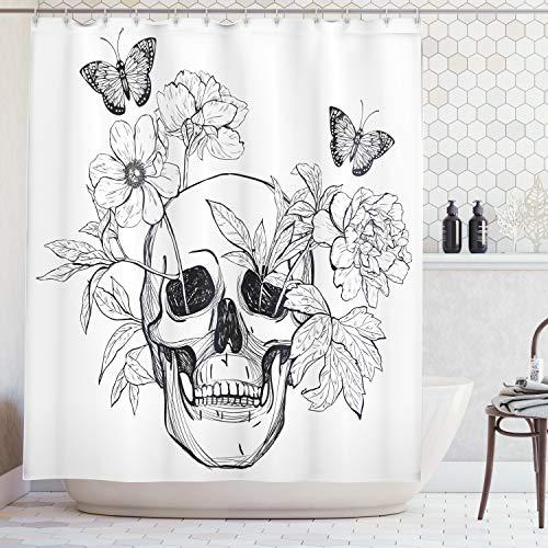 ABAKUHAUS Cortina de baño del Día de los Muertos. Calavera con flores y mariposas. Material resistente al agua, duradero. Estampación digital, 175 x 200 cm, blanco