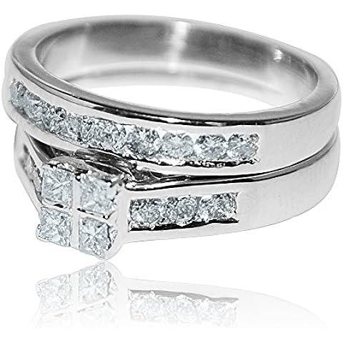 Midwest-0,9Cttw W, da donna, taglio Princess, Set da 10 k White Gold 8 mm e fascia di fidanzamento, 0,9Cttw I, J,) - 10k White Gold Diamond Band