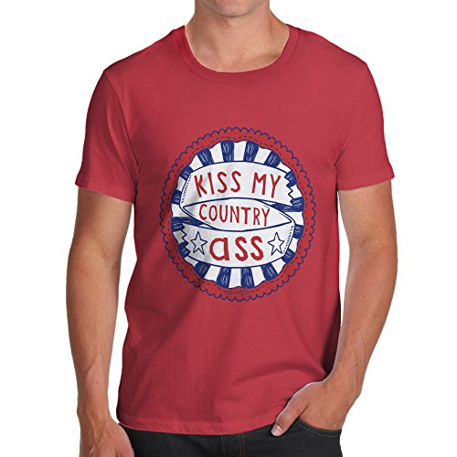 TWISTED ENVY Herren T-Shirt Kiss My Country Ass Print Large Rot - Kiss Print T-shirt