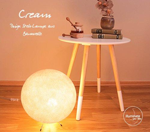 Handgearbeitete Kugellampe aus Baumwolle mit einem Durchmesser von 30cm, inkl. LED Glühbirne - creme innen
