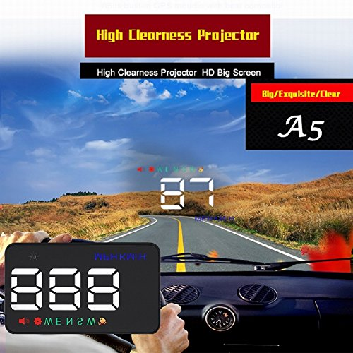 Preisvergleich Produktbild AUTOOL Universal A5 GPS HUD Head Up Display KMH / MPH Over Speed Alarm Tachometer mit Kompass für 12V Fahrzeug Windschutzscheibe Projektor mit Film,  Zigarettenanzünder Powered & 2 Display Alternativen