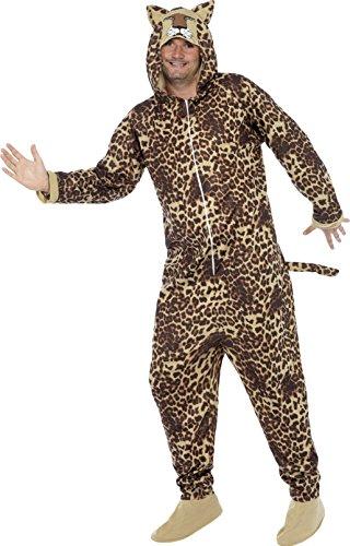 Smiffys, Unisex Leoparden Kostüm, All-in-One mit Kapuze, Größe: L, 50977