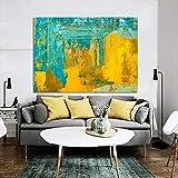 QLCUY Arte Astratta Moderna Poster e Stampe Wall Art Canvas Painting Immagini astratte di Giallo e Verde per Living Room Decor