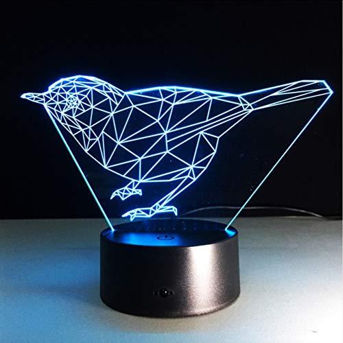 Mmneb Neue Lichter Der Vogel-3D Führten Bunte Steigungs-Kunst-Tischlampen-Neuheit Usb Geführte Nachtlicht Powerbank-Kinderschreibtisch-Lampe
