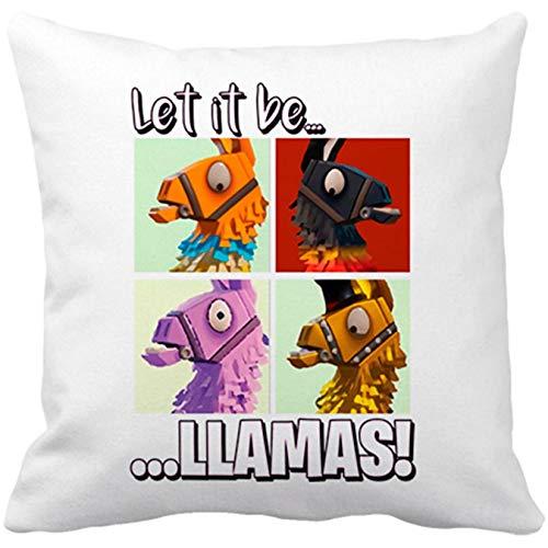Diver Bebé Cojín con Relleno Let It Be Llamas - Blanco, 35 x 35 cm