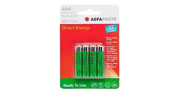 AGFA Batterie ricaricabili AgfaPhoto AAA 1.2V da 4 pezzi, Taglia Unica