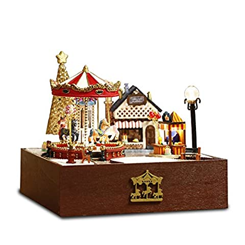 DIY Wooden DollHouse, Carousel happy garden Horse Park Model Handcraft Miniature Kit with Dust proof Cover and Music box