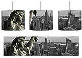 Gigantische Freiheitsstatue in New York Schwarz/Weiß inkl. Lampenfassung E27, Lampe mit Motivdruck, tolle Deckenlampe, Hängelampe, Pendelleuchte - Durchmesser 30cm - Dekoration mit Licht ideal für Wohnzimmer, Kinderzimmer, Schlafzimmer