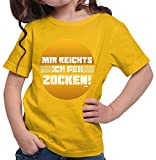 HARIZ  Mädchen T-Shirt Mir Reichts Ich GEH Zocken Gamer Gaming Sprüche Zocken PC Geburtstag Inkl. Geschenk Karte Gold Gelb 140/9-11 Jahre