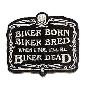 Ecusson - BIKER BORN ...... - noir - 9x8.2cm - patches brode appliques embroidery thermocollant