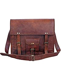Pranjals House Genuine Vintage Brown Leather Messenger Shoulder Laptop Bag For Upto -15 Inch Laptop