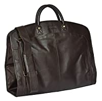 Real Luxury Soft Leather Suit Dress Garment Carrier Bag HOL933 Brown