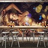 Zhcmy 3D Personalizzato Discoteca Europea E Americana Dj Bella TendaKtv Sexy Bar Ragazza Carta da Parati, 400 * 280 Centimetri
