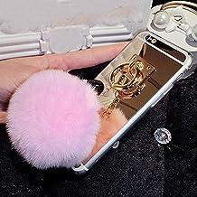 """LU2000- Funda para Apple iPhone 6Plus y iPhone 6S Plus (5.5"""") con llavero de pompón de pelo, funda con acabado de espejo, compatible con iphone 6 Plus"""