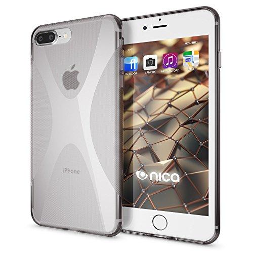iPhone 8 Plus / 7 Plus Hülle Handyhülle von NICA, Ultra-Slim Silikon Case, Dünne Crystal Schutzhülle, Etui Handy-Tasche Back-Cover Bumper, Gummihülle für Apple i-Phone 7+ / 8+ - Matt Pink X-Line Grau