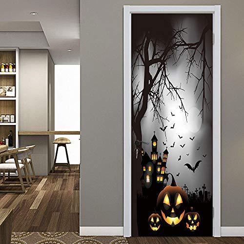 een Nacht Scary Trees Tür Aufkleber 3d Dekorative Wohnkultur Zimmertür Schlafzimmer Wohnzimmer Home Tür Aufkleber-L ()