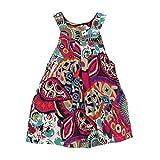Internet Bébé filles enfants Coton Robes sans manches floral de sangle (2 Ans, Vert #1)