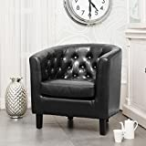 Sofa Collection Chesterfield Style Beauvais Black Bonded Leather Tub Chair