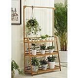LXLA-support de fleurs LXLA 3-Tier Hanging Pole Fleur Stand-debout Pot Rack En Pot En Plante Affichage Échelle Pliable Jardinière Vert 50/70/100 × 40 × 96 cm (taille : 100×38×98cm)
