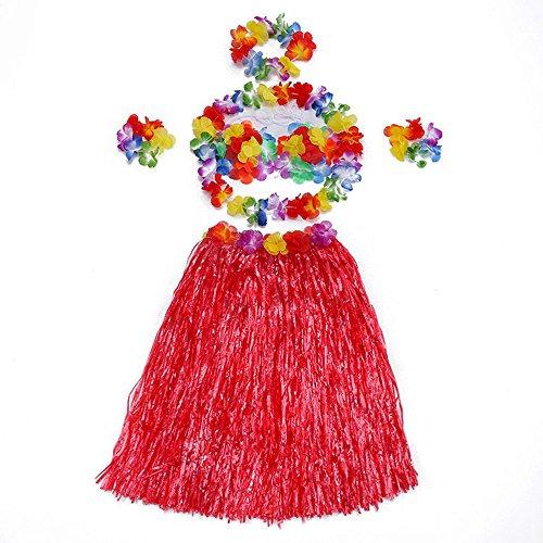 Little Sporter Hawaiian Kostüme Hawaii Tropical Hula Grass Dance Rock Grass Tanzen Rock und BH Set für Kinder Rot 6 Teilig (Hawaiianische Kostüm)