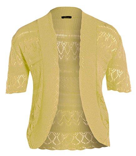 Nuovo da donna lungo le misure Plus maglia Bolero uncinetto Jumper Cardigan Tops 16-26 Yellow.