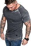 Amaci&Sons Oversize Herren Vintage Verwaschen Biker-Style T-Shirt Crew Neck Rundhals Basic Shirt 6087 Schwarz M
