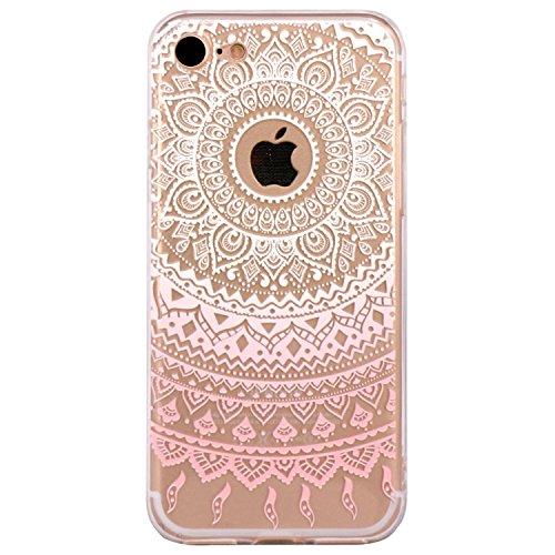 iPhone 7 Plus Case / iPhone 8 Plus Case, Walmark Beautiful Clear TPU Soft Case Rubber Silicone Skin Cover for iPhone 7 Plus / iPhone 8 Plus 5.5 inch - White Pink Tribal Mandala
