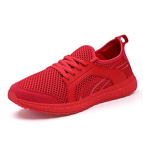 QANSI Chaussures de Running Course Empeigne en mesh respirante et légère mixte adulte Rouge