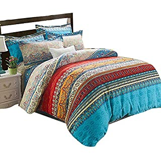 Alicemall 4 Piece Duvet Cover Set 100% Cotton Bedding Collection Queen Size 86x 94 inch (queen size-multi color)