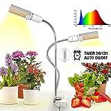 Luz de la planta,45W Full Spectrum Led Grow Light para plantas de interior,44 LEDs de doble cabeza Lámpara de cultivo roja/azul/blanca con cuello de cisne ajustable 360 para siembra, floración