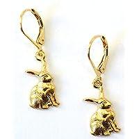 Ohrringe mit Hasenanhängern vergoldet Länge 1,5 cm