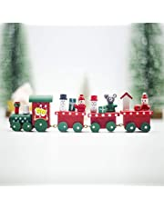 XuBa Christmas Decoration, Christmas Train Painted Wood Christmas Decoration for Home B Green Front