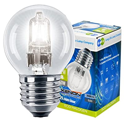 4 x Eco Halogen Energy Saving Mini Golf Balls Globes 42W = 60w ES E27 Edison Screw Classic Clear Round, Dimmable Light Bulbs Lamps, G45, Mains 240V from Long Life Lamp Company