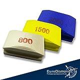 Diamant-Handschleifpad/Schleifschwamm Set 3 Teile, Das Original. Körnung 800, 1500, 3000 für Glas, Natursteine, Kunststeine, Keramik, Granit, Marmor