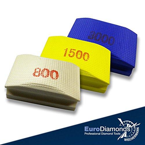 Diamant-Handschleifpad / Schleifschwamm Set 3 Teile, Das Original. Körnung 800, 1500, 3000 für Glas, Natursteine, Kunststeine, Keramik, Granit, Marmor