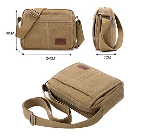 Super Modern Leinwand Umhängetasche Messenger Bag Retro Leichte Kleine Umhängetasche Mini iPad Tasche Wandern Tasche Freizeit Daypack Schwarz