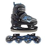 Inline Skates Kinder Herren Nils Inliner 2in1 Verstellbar Schlittschuhe Größenverstellbar ABEC7 Lager | Größen 30-41 | Schwarz