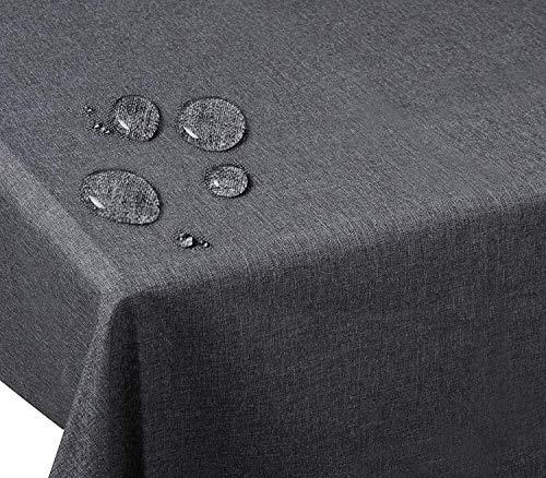 Sominue Tischdecke Grau, 135x 180cm, Eckig - Größe, Abwaschbar, Schmutz- und Wasserabweisend,...