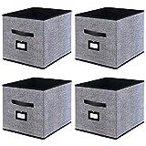 homyfort Caja de Almacenaje Set de 4 Cajas de Juguetes, Caja de Tela para Almacenaje con Cuero...