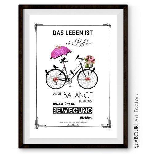 """ABOUKI hochwertiger Kunstdruck - ungerahmt - mit Einstein Zitat """"Das Leben ist wie Radfahren..."""" (Deutsch oder Englisch), Poster, Geschenk-Idee"""
