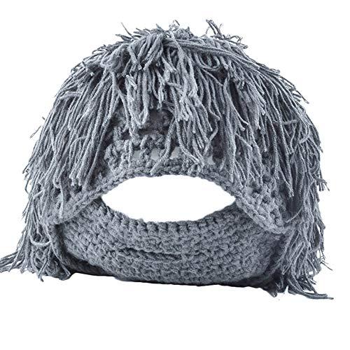 Caveman Maske - InvocBL Lustige Perücke, Barthüte, künstliche Wollgarn,