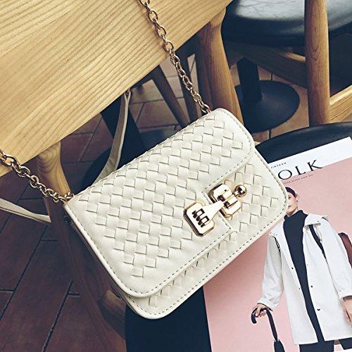 Mode Einfach Gewebte Kleine Quadratische Tasche Mini Damen Schulter Diagonalen Paket Cremeweiß