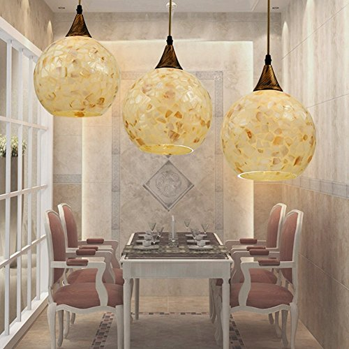JiaYouJia Mediter Mosaic Triple Globe-Shaped Pendant Chandelier Lamp Fixtures Art 3x60W E27 (Pure color)