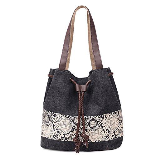 Ladies singola borsa a tracolla,borsa di tela,borsetta,borsa a secchiello-grigio nero